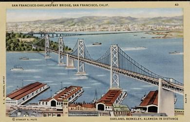 San Francisco-Oakland Bay Bridge, San Francisco, Calif. Oakland, Berkely, Alameda in distance