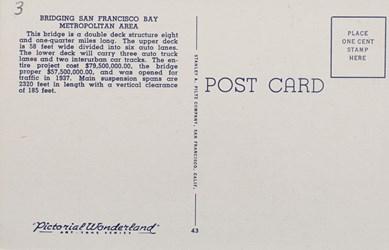 Reverse side: San Francisco-Oakland Bay Bridge, San Francisco, Calif. Oakland, Berkely, Alameda in distance