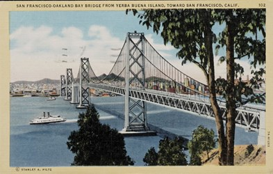 San Francisco-Oakland Bay Bridge from Yerba Buena Island, toward San Francisco, Calif.