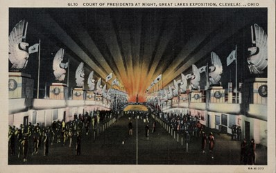 Court of the Presidents at night, Great Lakes Exposition, Cleveland, Ohio