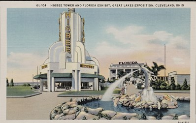 Higbee Tower and Florida Exhibit, Great Lakes Exposition, Cleveland, Ohio