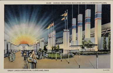 Varied Industries Building and Illuminated Pylons, Great Lakes Exposition, Cleveland, Ohio