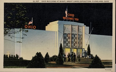 Ohio Building at night, Great Lakes Exposition, Cleveland Ohio