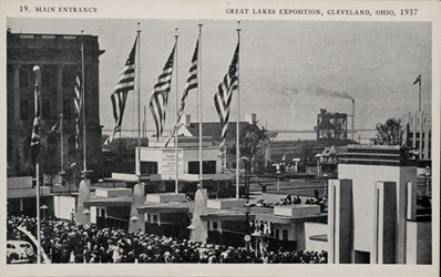 Main entrance, Great Lakes Exposition, Cleveland, Ohio, 1937