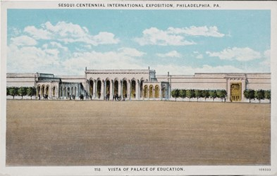 Sesqui-Centennial International Exposition, Philadelphia, PA. Vista of Palace of Education.