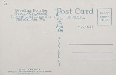 Reverse side: Main entrance, Broad Street, Sesqui-Centennial International Exposition, Philadelphia, PA.