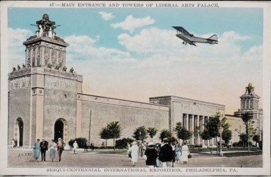 Main entrance and towers of Liberal Arts Palace, Sesqui-Centennial International Exposition, Philadelphia, PA.