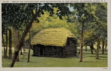 One of the thatched roof huts reconstructed in Fort Raleigh, on Roanoke Island, N.C.