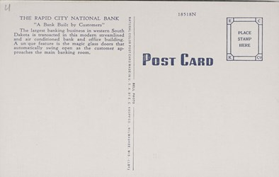 Reverse side: Reverse side: Citizens National Bank, Madison, S.D.