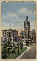 Butler County Court House and National Bank, Butler, PA.