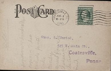 Reverse side: The NationalBank of Chester Valley of Coatesville, PA.
