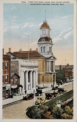 2165. First National Bank and Court House, Monument Square, Racine, Wis.