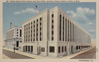 United States Court House and Post Office, showing Federal Reserve Bank in Rear, Philadelphia, Pa.