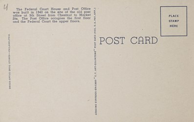 Reverse side: United States Court House and Post Office, showing Federal Reserve Bank in Rear, Philadelphia, Pa.