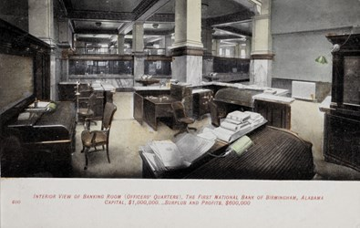 Interior view of Banking Room (Officers' Quarters), The First National Bank of Birmingham, Alabama