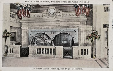 View of Massive Vaults, Southern Trust and Commerce Bank, U.S. Grant Hotel Building, San Diego, California