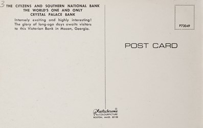Reverse side: The Citizens and Southern National Bank