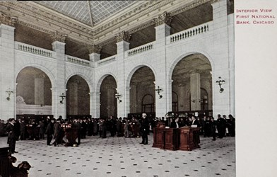 Interior view, First National Bank, Chicago