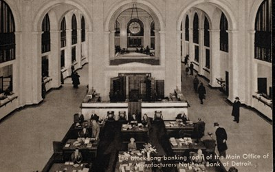 The block-long baking room of the Main Office of Manufacturers National Bank of Detroit.