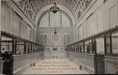 Interior view of the Lancaster Trust Company, showing the Accounting Department, Lancaster, PA.
