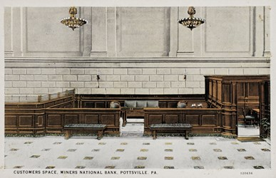 Customers space, Mineral National Bank, Pottsville, PA.