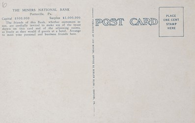 Reverse side: Customers space, Mineral National Bank, Pottsville, PA.