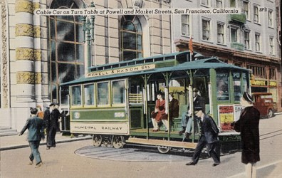 Cable Car on Turn Table at Powell and Market Streets, San Francisco, California