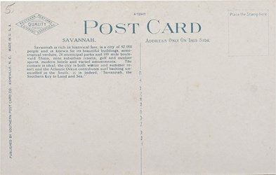Reverse side: Showing First National Bank, Bull and Broughton Streets, Savannah, GA.