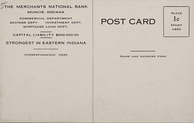 Reverse side: The Mercants National Bank, Muncie, Indiana