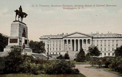 U.S. Treasury, Southern Entrance, Showing Statue of General Sherman, Washington, D.C.