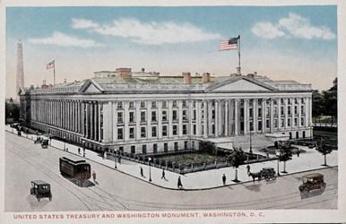 United States Treasury and Washington Monument, Washington, D.C.