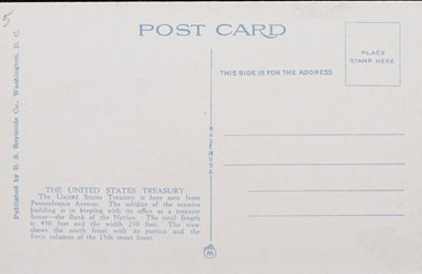 Reverse side: U.S. Treasury, Washington, D.C.
