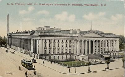 U.S. Treasury with the Washington Monument in Distance, Washington, D.C.