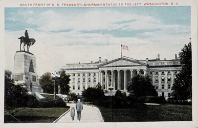South Front of the U.S. Treasury--Sherman Statue to the left. Washington, D.C.