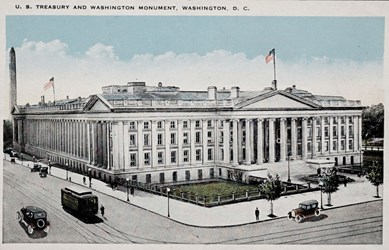 U.S. Treasury and Washington Monument, Washington, D.C.