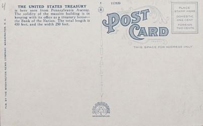 Reverse side: U.S. Treasury and Washington Monument, Washington, D.C.