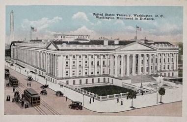United States Treasury, Washington, D.C., Washington Monument in Distance