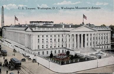 U.S. Treasury, Washington, D.C., Washington Monument in distance