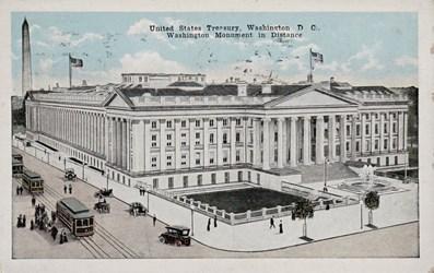 United States Treasury, Washington D.C., Washington Monument in Distance