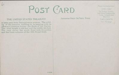 Reverse side: United States Treasury, Washington, D.C.
