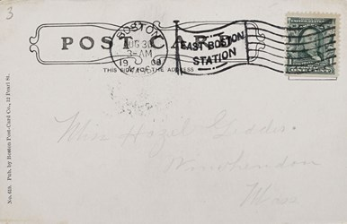 Reverse side: Post Office & Sub Treasury Building, Boston, Mass.