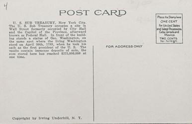 Reverse side: U.S. Sub-Treasury, New York City