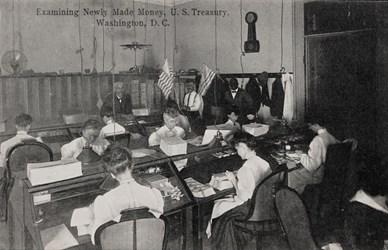 Examining Newly Made Money, U.S. Treasury, Washington, D.C.