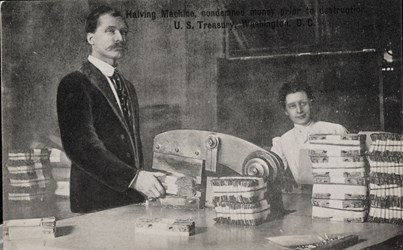 Halving Machine, condemned money prior to destruction, U.S. Treasury, Washington, D.C.
