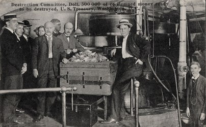 Destruction Committee, Doll. 500000 of condemned money ready to be destroyed, U.S. Treasury, Washington, D.C.