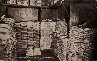 10,000,000 in silver vault, U.S. Treasury, Washington, D.C.