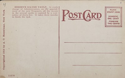 Reverse side: Reserve Silver Vault, U.S. Treasury, Washington, D.C.