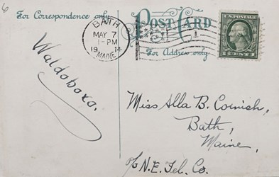 Reverse side: First National Bank of Bath, Me.