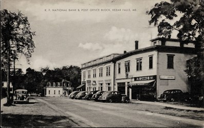 K.F. National Bank & Post Office Block, Kezar Falls, ME.