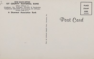 Reverse Side: 1st County National Bank